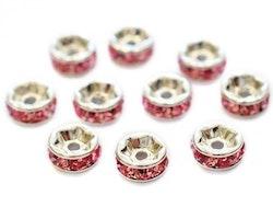 Silverfärgade rosa strassrondeller 6 mm, 10 st