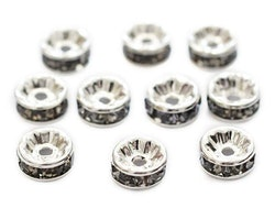Silverfärgade grå strassrondeller 4 mm, 10 st