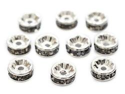 Silverfärgade grå strassrondeller 8 mm, 10 st