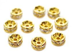 Guldfärgade strassrondeller 8 mm, 10 st