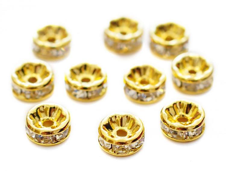 Storpack: Guldfärgade strassrondeller 8 mm, 100 st
