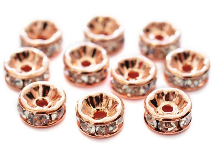 Roséfärgade strassrondeller 4 mm, 10 st