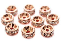 Storpack: Roséfärgade strassrondeller 8 mm, 100 st