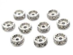 Silverfärgade strassrondeller 8 mm, 10 st