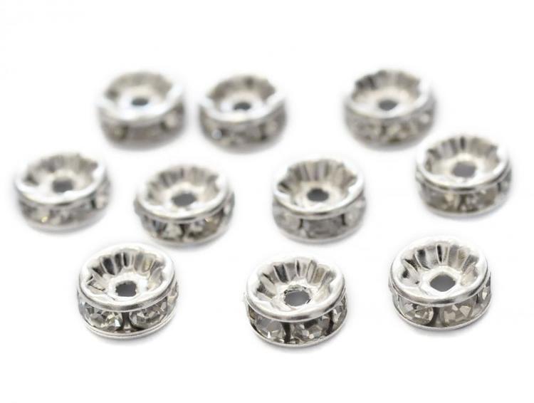 Storpack: Silverfärgade strassrondeller 4 mm, 100 st