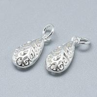 Sterling silver berlock mönstrad droppe, 1 st