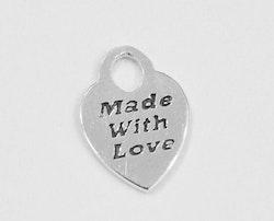 "Sterling silver berlock hjärta ""Made with love"", 1 st"