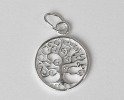 Sterling silver berlock livets träd rak, 1 st