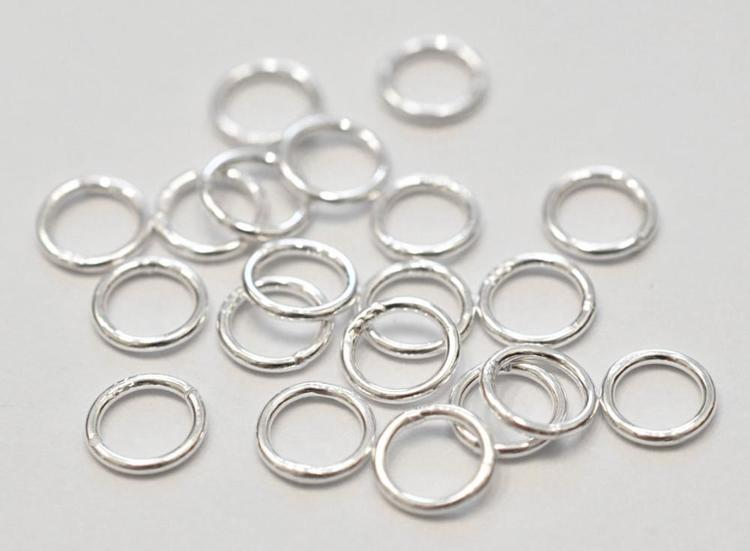 Sterling silver lödd ring 6 mm, 10 st