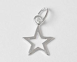 Sterling silver berlock liten stjärna, 1 st
