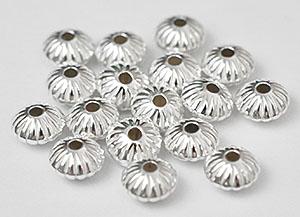 Sterling silver mellandel räfflad 6 mm, 1 st