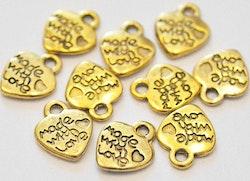 Antikt guldfärgade berlocker hjärtan Made with love, 10 st