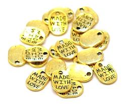 Antikt guldfärgade berlocker Made with love, 10 st