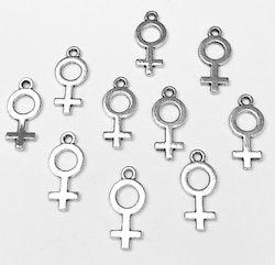 Antikfärgade berlocker kvinnosymbol, 10 st