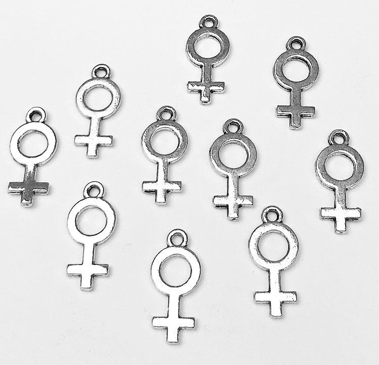 Antikfärgade berlocker kvinnosymbol, ca 100 st