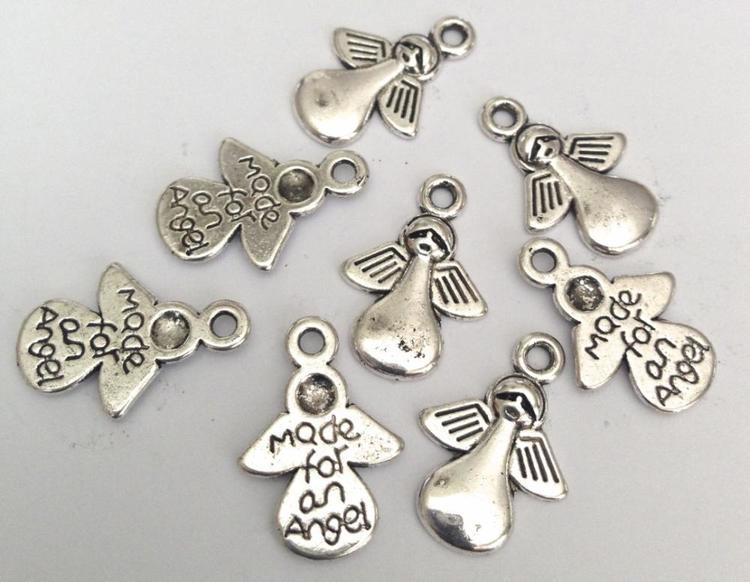 Antikfärgade berlocker Made for an angel, ca 100 st