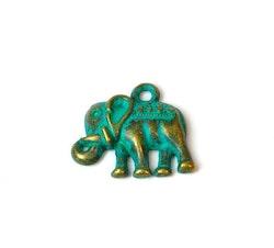Antikt grön & bronzefärgad berlock elefant, 1 st