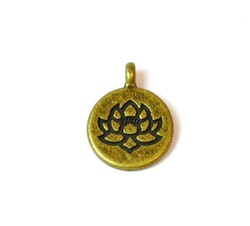 Bronzefärgad berlock lotus, 10 st