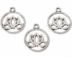 Antikfärgad berlock lotusblomma i siluett, 10 st
