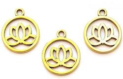 Antikt guldfärgad berlock lotusblomma i siluett, 10 st