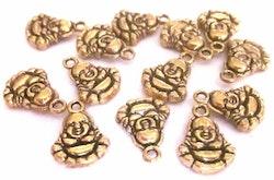 Antikt guldfärgade berlocker buddha, 10 st