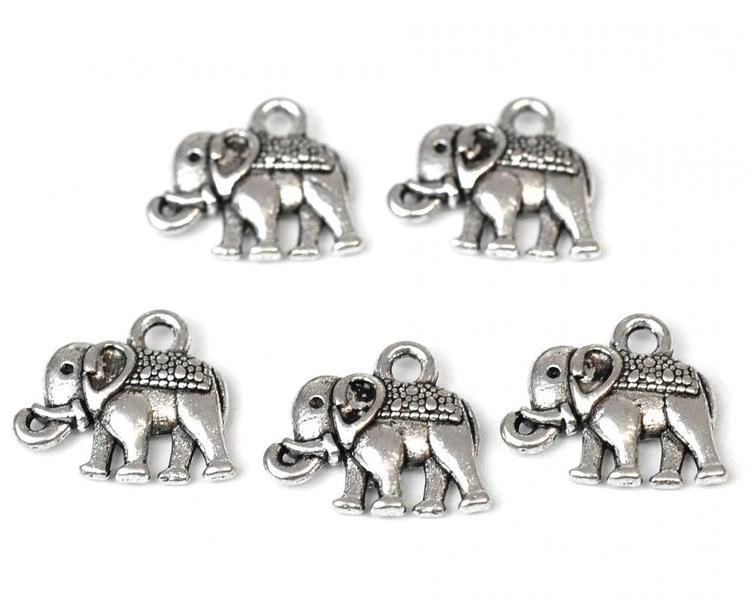 Antikfärgade berlocker elefanter, 10 st