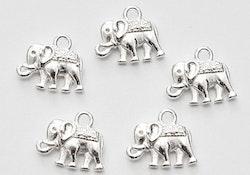 Silverfärgade berlocker elefanter, 10 st