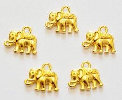 Guldfärgade berlocker elefanter, 10 st