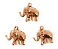 Roséfärgade berlocker elefanter, 10 st