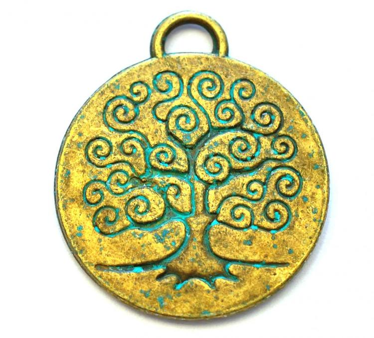 Antikt grön & bronzefärgad berlock Livets träd, 1 st