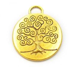 Antikt guldfärgad stor berlock Livets träd, 1 st