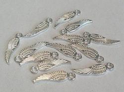 Silverfärgade berlocker minivingar, 10 st