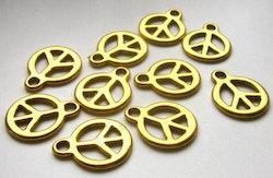 Antikt guldfärgade berlocker Peace, 10 st