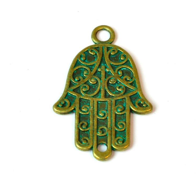 Antikt grön & bronzefärgad connector hamsa hand, 1 st
