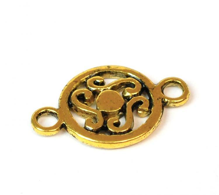 Antikt guldfärgad mönstrad connector, 10 st