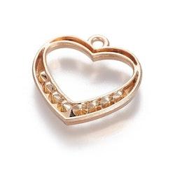 Guldfärgat hjärta med strass, 1 st
