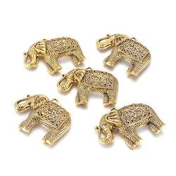 Antikt guldfärgat hänge stor elefant, 1 st