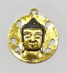 Antikt guldfärgat runt hänge, buddha, 1 st