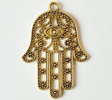 Antikt guldfärgat hänge mönstrad hamsa hand, 1 st