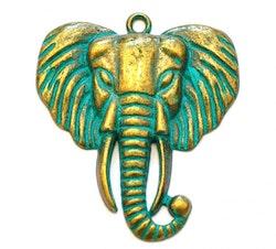 Antikt grön & bronzefärgat hänge elefant, 1 st