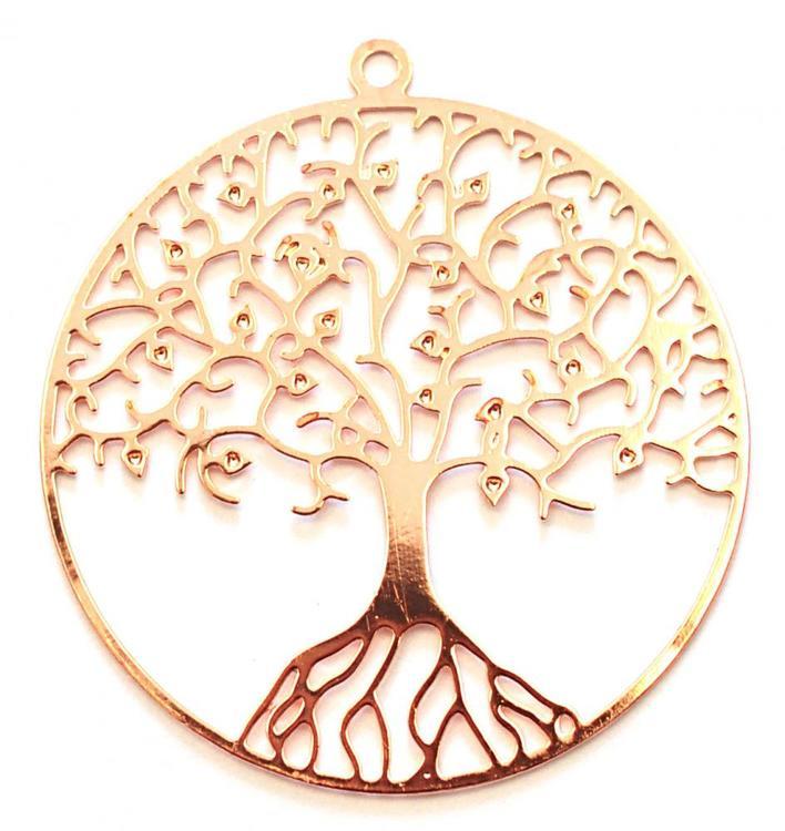 Roséfärgat hänge av filigran livets träd, 1 st