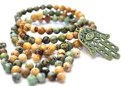 Antikt grön & bronzefärgat hänge mönstrad hamsa hand, 1 st
