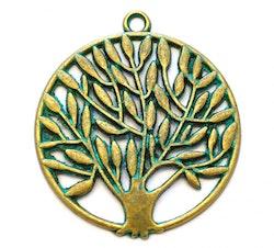 Antikt grön & bronzefärgat stort hänge livets träd, 1 st