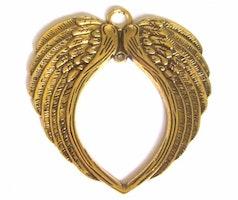 Antikt guldfärgat hänge dubbelvingar, 1 st