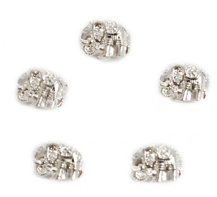 Silverfärgad metallpärla elefant, 1 st
