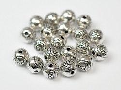 Antikfärgade pärlor 8 mm med blomma, ca 100 st