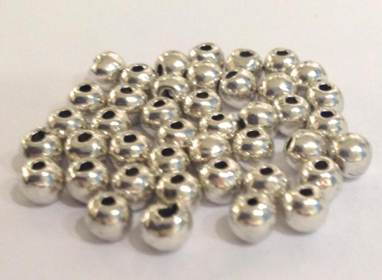 Antikfärgade metallpärlor 3-4 mm, ca 50 st