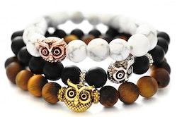 Antikfärgad pärla uggla, 1 st