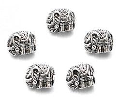 Antikfärgad metallpärla elefant, 1 st