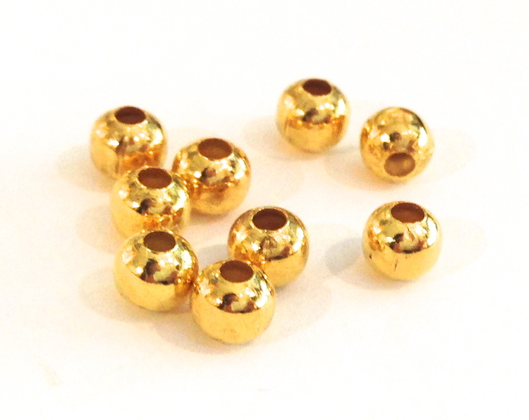Guldfärgade metallpärlor 6 mm, 10 st
